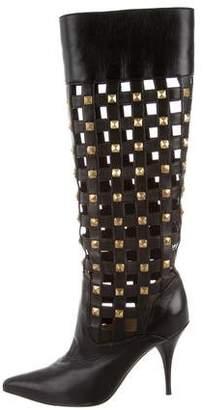 Oscar de la Renta Embellished Cutout Boots