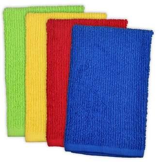 "MOP Design Imports Bar Dishtowel Set, Set of 4, 19""x16"", 100% Cotton, Tango Red, Daffodil, Lime Zest, Blueberry"