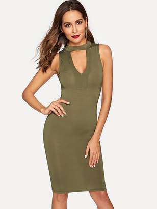 Shein Choker Neck Form Fitted Dress