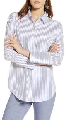 Halogen Tie Front Poplin Shirt (Regular & Petite)