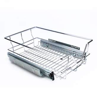 Yosoo Kitchen Sliding Cabinet Organizer,Pull Out Chrome Wire Storage Basket Drawer Kitchen Cabinets,Drainer