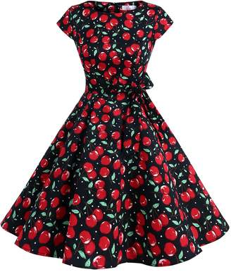 Dressystar Vintage 1950s Polka Dot and Solid Color Prom Dresses Cap-sleeve XS