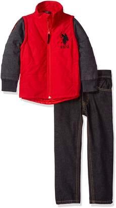 U.S. Polo Assn. Boys' Little Boys' Puffer Vest with Fleece Sleeves and Denim