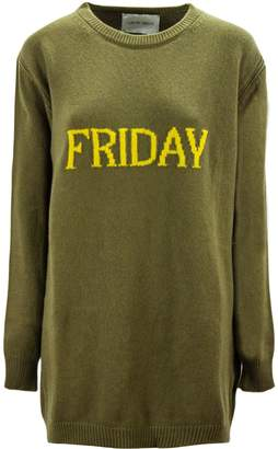 Alberta Ferretti friday Dress In Green And Yellow Virgin Wool And Cashmere.