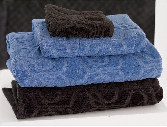 Hourglass Jacquard Towels - Java & Parisian Blue