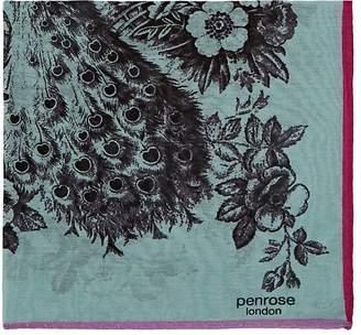 Penrose London PENROSE LONDON MEN'S KINVER.C PEACOCK PRINT COTTON-SILK POCKET SQUARE