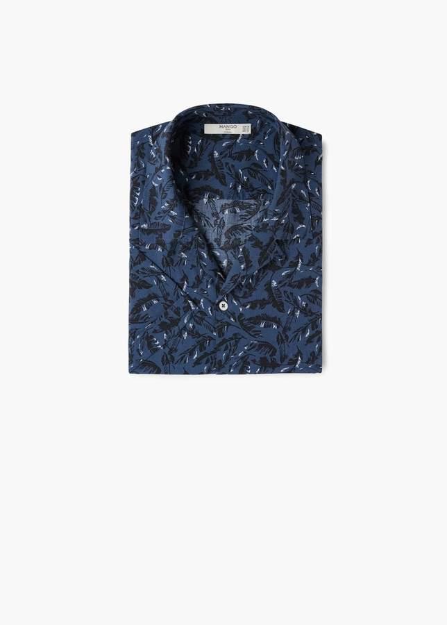 Regular Fit-Hemd mit Blättermotiv