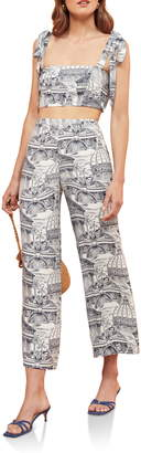 Reformation Tiki Print Tie Shoulder Two-Piece Jumpsuit
