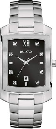 Bulova 31mm Men's Square Diamond Bracelet Watch, Silvertone
