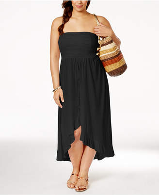 Raviya Plus Size Smocked Waterfall Cover-Up Dress $39 thestylecure.com