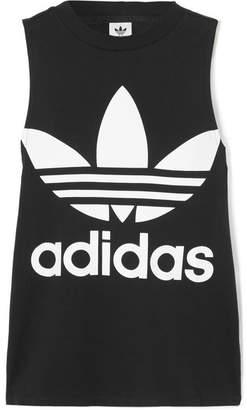 Trefoil Printed Cotton-jersey Tank - Black adidas Originals Looking For Discounts Online Order Sale Online Cheap New Styles Discount Genuine b2HvNOsom5
