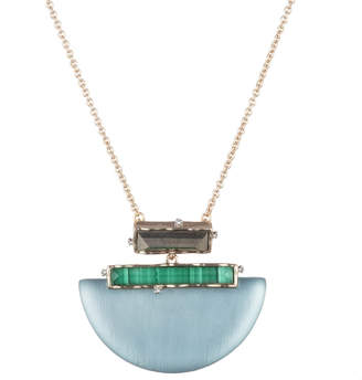 Alexis Bittar Stone Studded Retro Half Moon Pendant Necklace