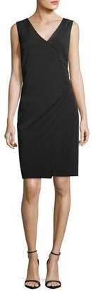 St. John Stretch Crepe V-Neck Sheath Dress