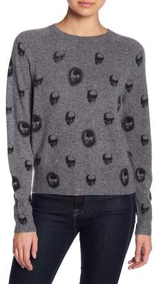 SKULL CASHMERE Ebony Skull Print Ribbed Trim Cashmere Sweater