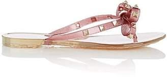 Valentino Women's Rockstud PVC Thong Sandals - Pink