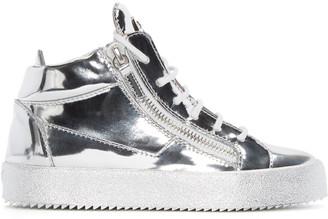 Giuseppe Zanotti SSENSE Exclusive Silver London Mid-Top Sneakers $720 thestylecure.com