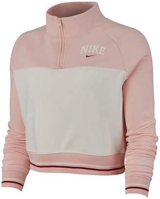 Nike Womens Crew Neck Long Sleeve Quarter-Zip Pullover