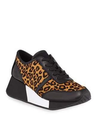 Donald J Pliner Payce Cheetah-Print Calf Hair Wedge Sneakers