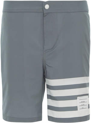 Thom Browne Four-Bar Striped Snap-Front Swim Short