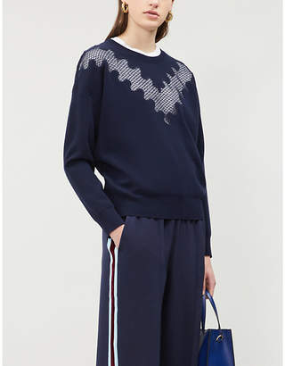 Sandro Lace panel knitted jumper