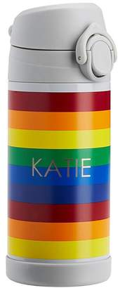 Pottery Barn Kids Regular Insulated Water Bottle, Fairfax Gray Bright Rainbow Stripe w/ Red Trim