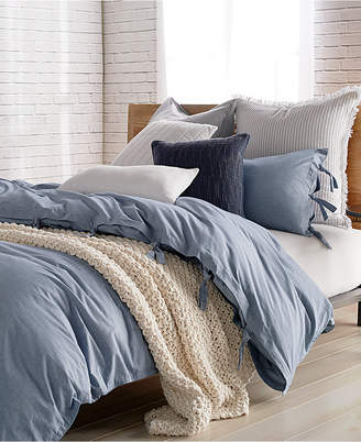 DKNY Pure Stripe Blue Twin Duvet Cover Bedding