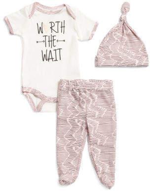 Newborn Girls 3pc Worth The Wait Bodysuit & Pant Set With Hat