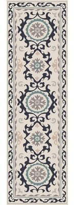 House of Hampton Virginia Light Gray Multi Ikat/Suzani Rug House of Hampton