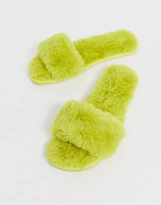 a64788b97f03 Asos Design DESIGN Nia fluffy slider slippers in chartreuse
