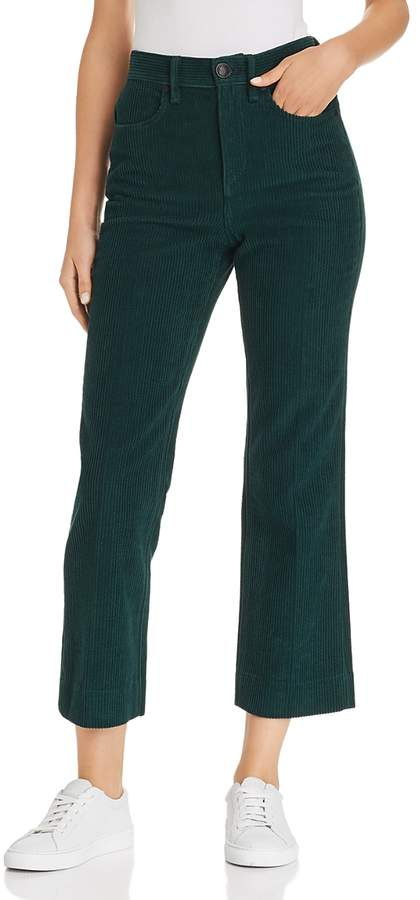 Dylan Cropped Flared Corduroy Jeans in Bottle Green