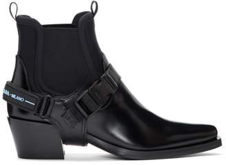 Prada Black Cowboy Combo Boots