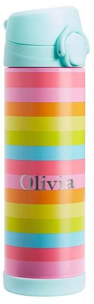 Large Insulated Water Bottle, Fairfax Pink Rainbow Stripe w/ Aqua Trim