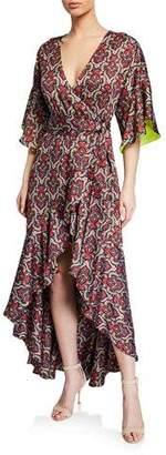 Alice + Olivia Dani Medallion-Print Ruffled High-Low Kimono Wrap Dress