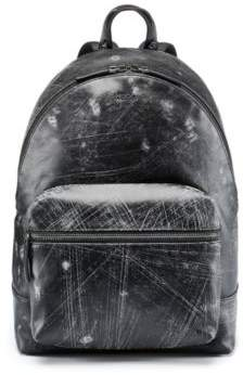 HUGO Boss Distressed Leather Backpack Abstract Backpack One Size Black