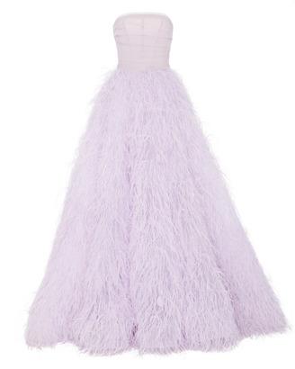 Monique Lhuillier Feather Strapless Ball Gown $14,995 thestylecure.com