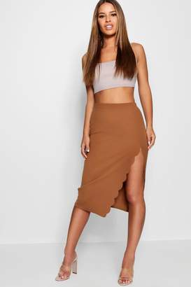 boohoo Petite Scallop Detail Slit Midi Skirt