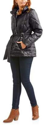 Big Chill Womens Belted Puffer Jacket Coat