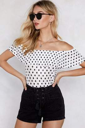 Nasty Gal Dot in the Act Off-the-Shoulder Top