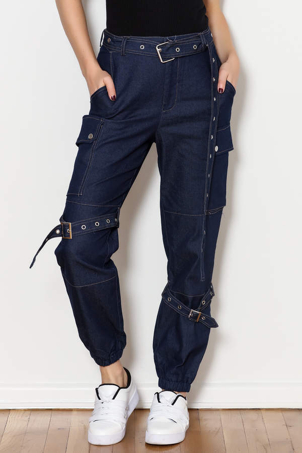 hot and delicious Denim Cargo Pants