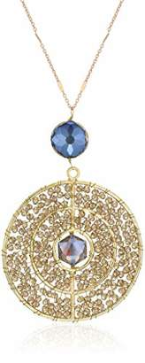 Panacea Women's Stone Smoky Crystal Circle Pendant Necklace