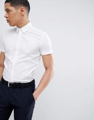 Antony Morato Stretch Short Sleeve Shirt In White