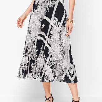 Talbots Lattice Bouquets Pleated Midi Skirt