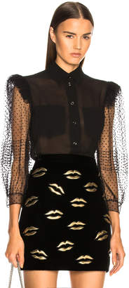 Givenchy Silk Georgette Lace Sleeve Blouse