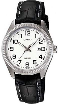 Casio – ltp-1302l-7b – Classic – Ladies Watch – Analogue Quartz – White Dial – Black Leather Strap