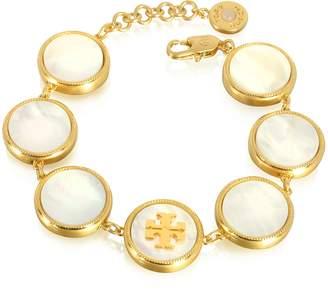 Tory Burch Mother of Pearl Goldtone Metal Multi Bracelet