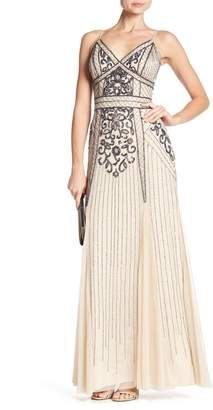 Marina Beaded V-Neck Gown