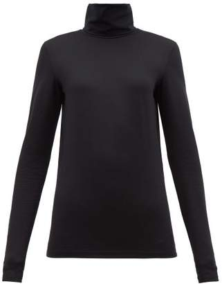 Jil Sander Logo Embroidered Roll Neck Cotton Blend Top - Womens - Black