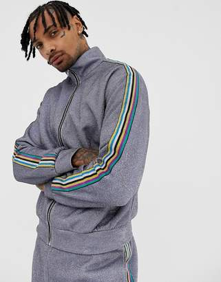 Jaded London track top in metallic silver with side stripe
