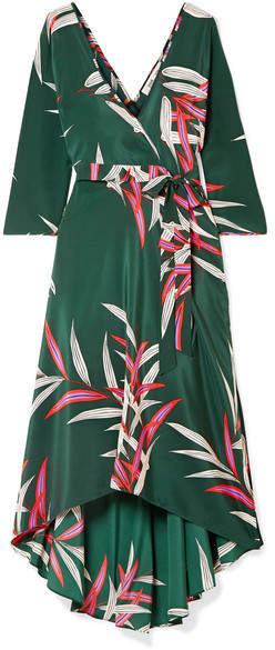 Eloise Wrap-effect Printed Silk Crepe De Chine Midi Dress - Dark green