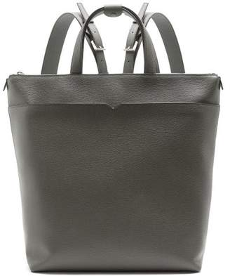 Valextra Grained Leather Backpack - Mens - Grey